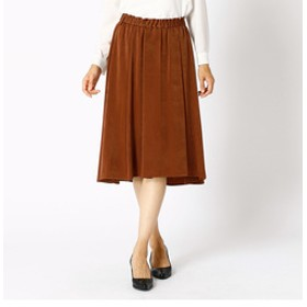 【COMME CA:スカート】ヌバック調サテンデザインスカート