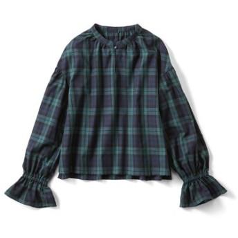 きゅっとボリューム袖のチェックトップス〈ブラックウォッチ〉 フェリシモ FELISSIMO【送料無料】
