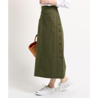 Dessin / デッサン 【洗える】【ウエスト後ろゴム】サイドボタンロングスカート