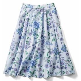 華やか柄でコーディネイトが着映えする花柄フレアースカート〈グレー〉 IEDIT[イディット] フェリシモ FELISSIMO【送料無料】