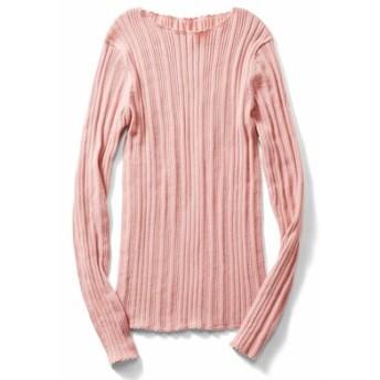 ランダムリブが華奢見えをかなえる ピコ付きコットンニット〈ピンク〉 IEDIT[イディット] フェリシモ FELISSIMO【送料無料】