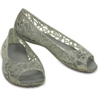 【クロックス公式】 クロックス イザベラ グリッター フラット GS Kids' Crocs Isabella Glitter Flat ガールズ、キッズ、子供用、女の子 グレー/グレー 20cm,21cm,22cm,24cm flat フラットシューズ バレエシューズ ぺたんこシューズ