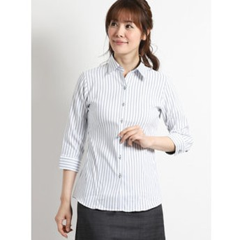 【TAKA-Q:トップス】形態安定ストレッチ レギュラーカラー7分袖スキッパーシャツ