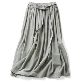 ギャザーロングスカート〈グレイッシュオリーブ〉 THREE FIFTY STANDARD フェリシモ FELISSIMO【送料無料】