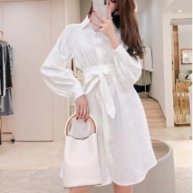 ホワイト ロングシャツ ワンピース tyk-00425
