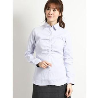 【TAKA-Q:トップス】形態安定ストレッチ レギュラーカラースキッパーギャザー長袖シャツ
