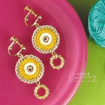 irokobako 高級レース糸とメタルリングのイヤリング フェリシモ FELISSIMO【送料:450円+税】