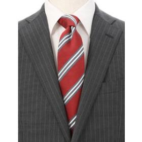 【THE SUIT COMPANY:スーツ・ネクタイ】シルクコットン ストライプ×織柄ネクタイ≪Fabric by ITALY≫