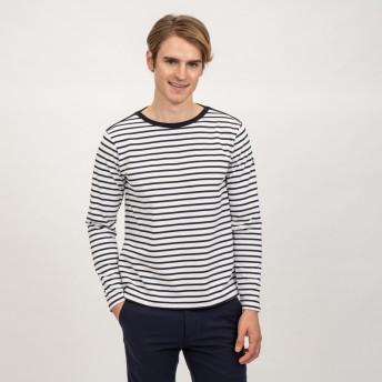 AIGLE メンズ メンズ 吸水速乾 ボーダー バスク 長袖Tシャツ ZTH035J DARK NAVY (075) Tシャツ