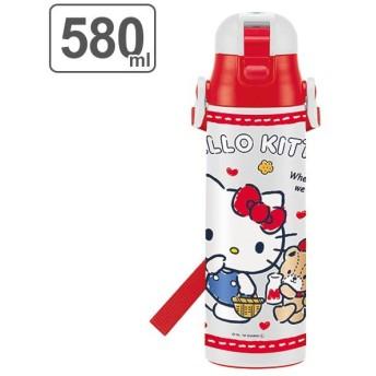 水筒 ハローキティ 直飲み ワンプッシュステンレスボトル 580ml 子供 キャラクター キティ ( ステンレス 幼稚園 保育園 保冷 )