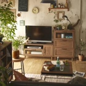 【直送】波ガラスを使用したデザインテレビ台 チェストセット ダークブラウン