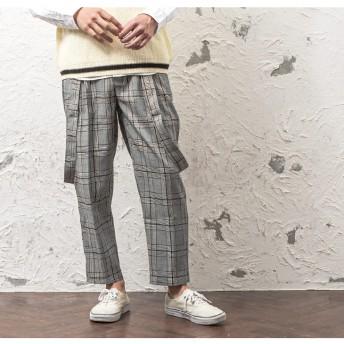 パンツ・ズボン全般 - MinoriTY ワイドパンツ メンズ サスペンダー パンツ アンクルパンツ チェック ワイド パンツ アンクル チェック柄 サスペンダーパンツ 韓国ファッション メンズファッション モード系 ストリート系 マイノリティ minority