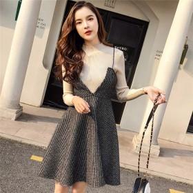 【送料無料】 2019大人気新作 韓国ファッション CHIC気質 セット 新品 気質 セーター+ウール ベストスカート ツーピース