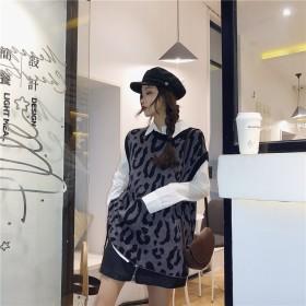 【限定SALE】 秋冬 大人気 新作★ 韓国ファッション ヒョウ柄サイド巾着 セーターベスト+ワイルドシャツトップ セット