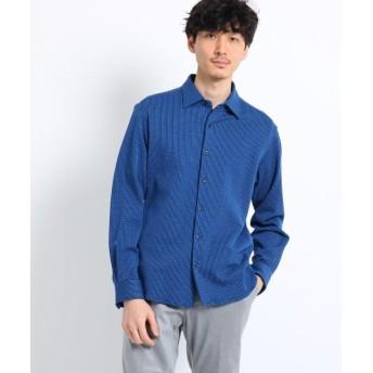 【50%OFF】 タケオキクチ シアサッカーシャツ[ メンズ シャツ ストレッチ ストライプ ] メンズ ブルー(392) 03(L) 【TAKEO KIKUCHI】 【セール開催中】