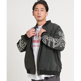 シルバーバレット CavariAポリピーチ袖刺繍MA 1ジャケット メンズ ブラック 44(M) 【SILVER BULLET】