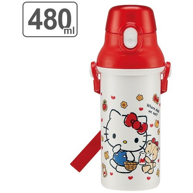 水筒 ハローキティ 直飲みプラワンタッチボトル 480ml 子供 キャラクター キティ ( 食洗機対応 幼稚園 保育園 子供用水筒 )