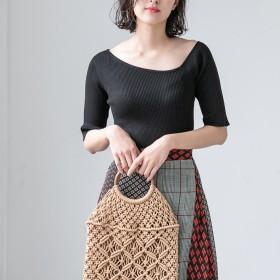 【fifth/フィフス】ウッドハンドルかぎ編みバッグ