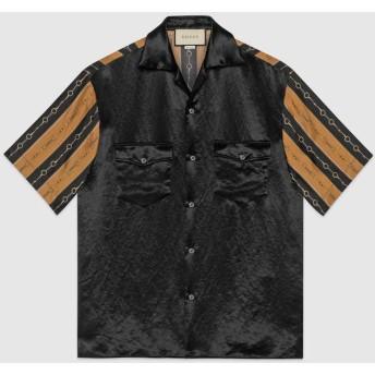 バイマテリアル プリント ボーリングシャツ