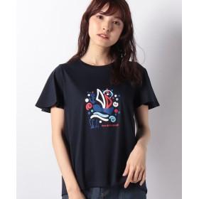 【50%OFF】 ラピーヌ ブルー スーピマスムース プリマシャインTシャツ レディース ネイビー 40 【LAPINE BLEUE】 【セール開催中】