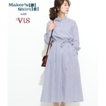 ビス/【鎌倉シャツ×ViS】スタンドカラーワンピース/ネイビー系/M