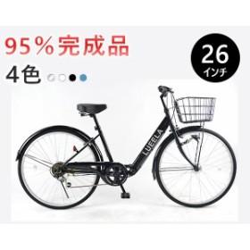 ★送料無料★【CTA266】26インチ シティサイクル ママチャリ LEDオートライト シマノ6段