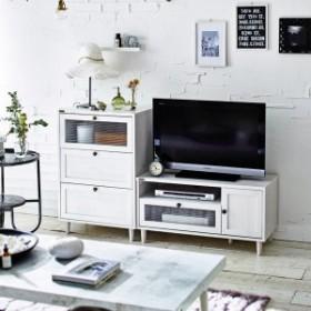 【直送】波ガラスを使用したデザインテレビ台 チェストセット ホワイト