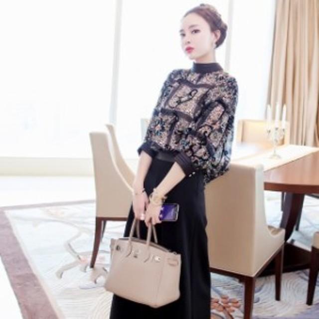 韓国 パーティードレス 袖あり パンツ 大きいサイズ ドレス 結婚式 二次会 ワイドパンツ セットアップ アジアンテイスト