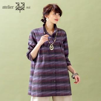 【送料無料】atelier翠 (アトリエすい) よろけ織り ロングブラウス