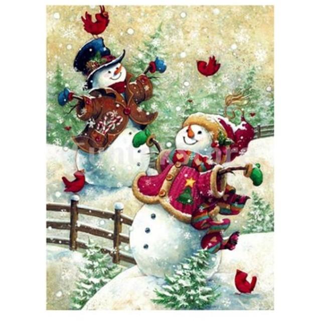 クリスマス雪だるまDIY 5Dダイヤモンドの絵の刺繍クロスステッチキット