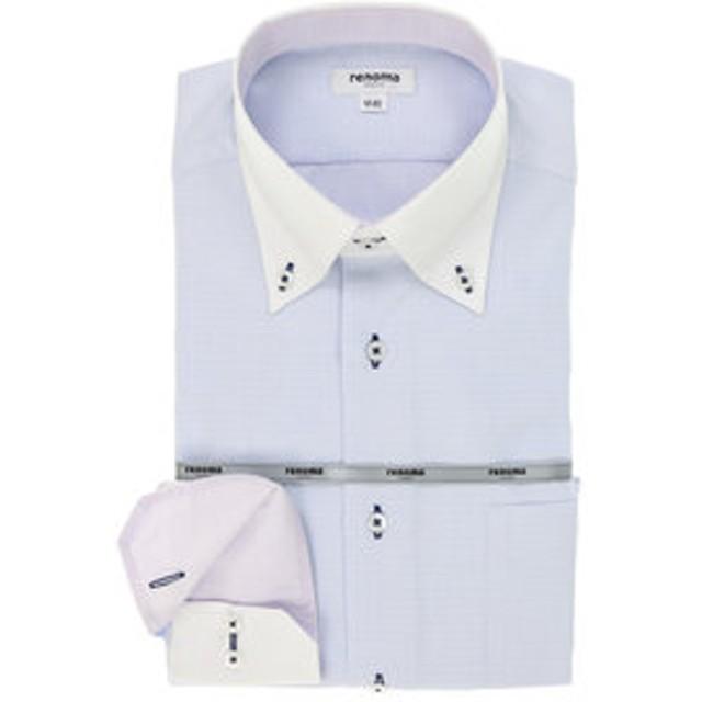 【TAKA-Q:トップス】形態安定レギュラーフィット クレリックボタンダウン長袖ビジネスドレスシャツ