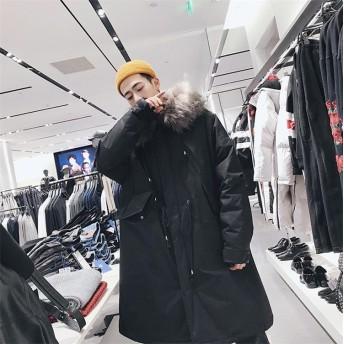 [55555SHOP] 限定発売 高品質で 韓国ファッション メンズ 大きな毛皮の襟 フードつき ジャケット 長袖 綿 コート防風 秋冬
