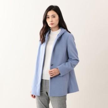SALE【トランスワーク(TRANS WORK)】 ウールカシミヤビーバーフードコート ブルー