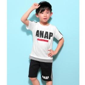 [マルイ]【セール】切り替え風ラインTシャツ+ラインハーフパンツSET/アナップキッズ&ガール(ANAP KIDS&GIRL)