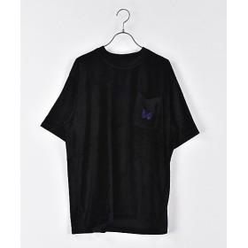 <ニードルズ/NEEDLES> Tシャツ S/S PAPILLON EMB. POCKET TEE-R/PE/C/S VELOUR(19SS-21-EJ230) Black 【三越・伊勢丹/公式】