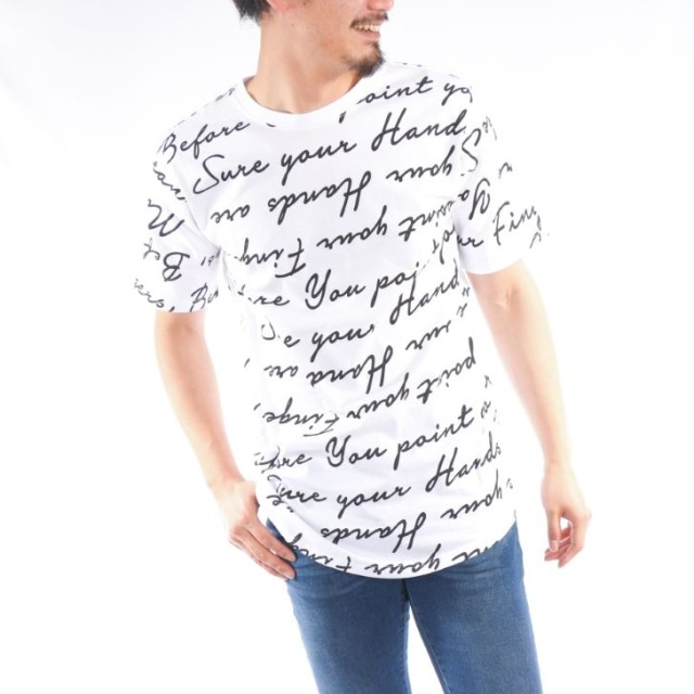 Tシャツ - ローコス 【ビッグTシャツ メンズ】 半袖Tシャツ メンズ クルーネック プリント ロゴプリント 筆記ロゴ ビッグTシャツ ビックシルエット 白黒 春 夏 プリントTシャツ メンズTシャツ カットソー トップス 韓国 お洒落