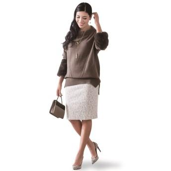 チュニック - Be mode ANELA LUX 着脱可能!ふわもこ袖付着痩せニットチュニック アンミカ アネラリュクス セーター トップス エコファー 秋 冬 大人可愛い カジュアル きれいめ あったか 大きいサイズ TV通販 テレビ通販 人気 20代 30代 40代 体型カ