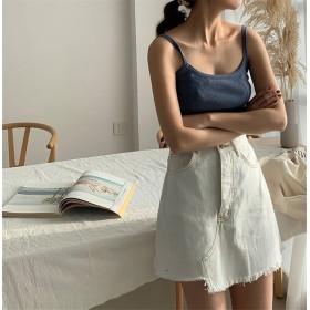2018年の新作 韓国ファッション/CHIC気質/大人気/おしゃれな/トレンド/スリムフィット/Aライン/スリム/ハイウエスト/短いスタイル/デニム/スカート