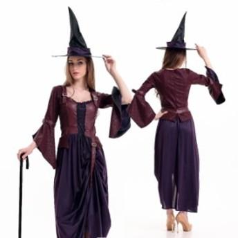 ハロウィン  魔女 魔法使い 帽子付き 中世ヨーロッパ風  コスプレ衣装 ps2534