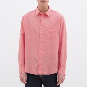 (GU)リネンブレンドシャツ(長袖) RED L