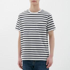 (GU)ボーダークルーネックT(半袖)A WHITE XL