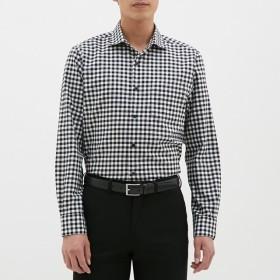 (GU)イージーケアドビーシャツ(長袖)(チェック)CL BLACK S