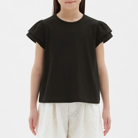 (GU)GIRLSフリルT(半袖) BLACK 140