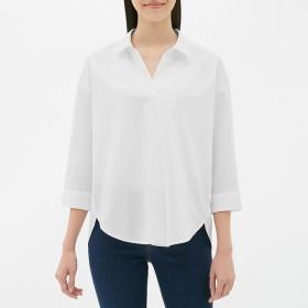 (GU)オーバーサイズスキッパーシャツ(7分袖) WHITE S