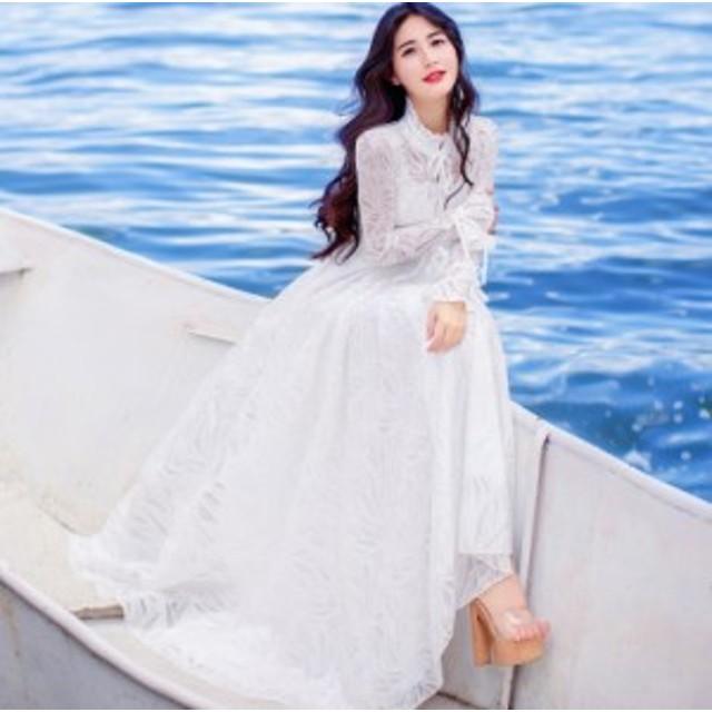 結婚式 ドレス   マキシ丈  リゾートワンピース お呼ばれ 服 体型カバー カジュアル ロング丈 旅行・海デート・リゾート 二次会