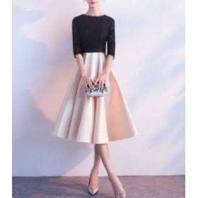 オルチャン 韓国 ファッション パーティードレス ワンピース 袖あり ひざ丈 切り替え 透け感 レース エレガント 結婚式 お呼ばれ 二次会
