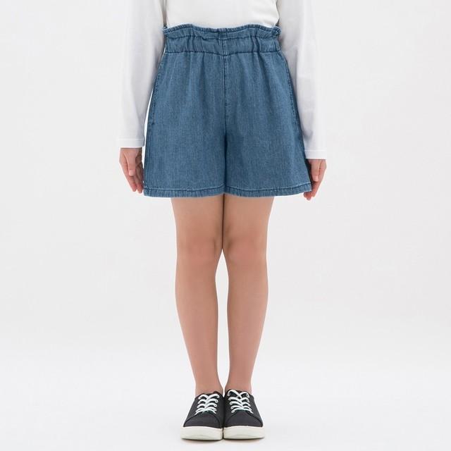 (GU)GIRLSデニムキュロット BLUE 150