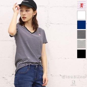 Tシャツ - GIORDANO [GIORDANO]ライオン刺繍VネックTEE
