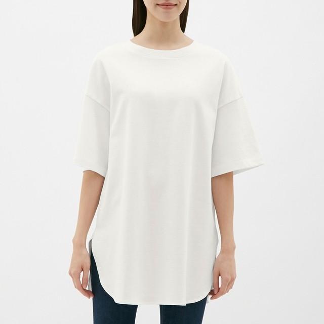 (GU)ヘビーウェイトオーバーサイズT(5分袖) OFF WHITE XL