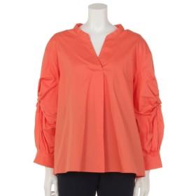 MAX73%OFF INTERPLANET (インタープラネット) ストレッチブロード袖ねじりシャツ オレンジ